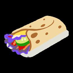 Tortilla de comida rápida isométrica