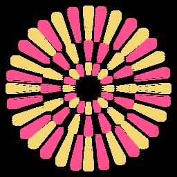 Desenho colorido de fogos de artifício em forma de flor