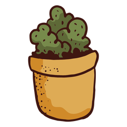 Flowerpot cactus plant illustration