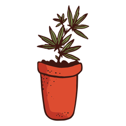 Flowerpot cannabis plant illustration