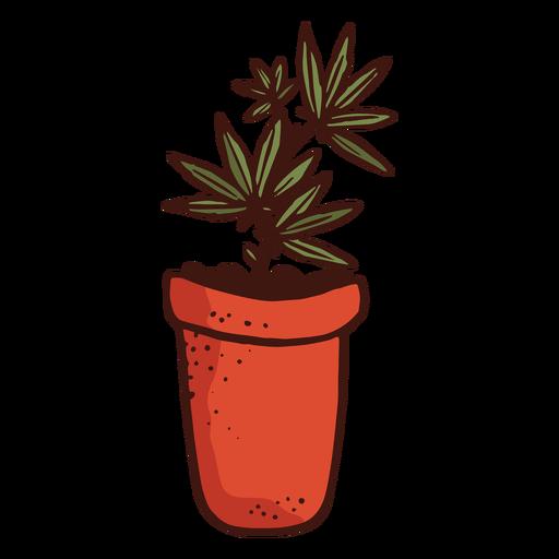 Flowerpot cannabis plant illustration