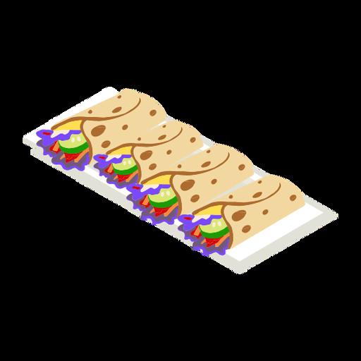 Comida sabrosa taco isométrica Transparent PNG
