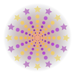 Gradient purple yellow sparks dots firework