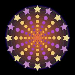 Gradiente púrpura amarillo chispas puntos fuegos artificiales