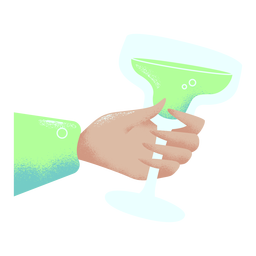 Hand holding cocktail glass illustration green