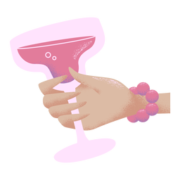 Hand holding cocktail glass illustration viole