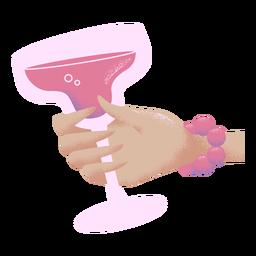 Mão segurando a viola de ilustração de copo de coquetel