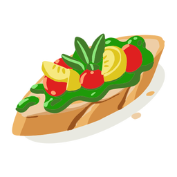 Healthy vegetable bruschetta isometric