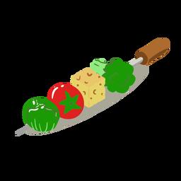 Brocheta de vegetales saludables isométrica