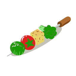 Healthy vegetable skewer isometric