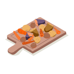 Placa de corte de legumes saudáveis isométrica