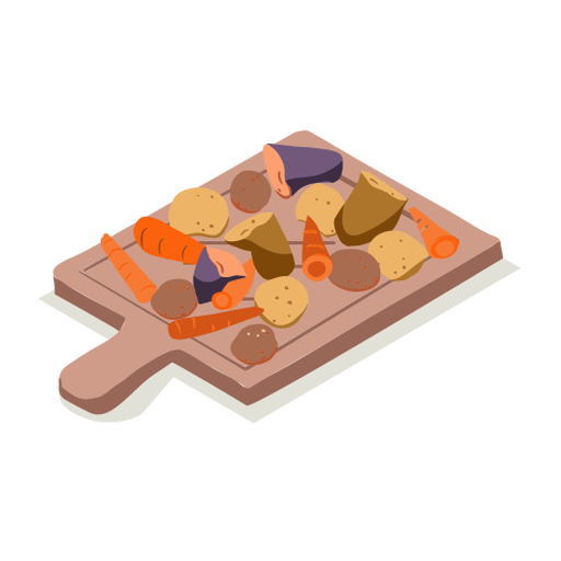 Healthy vegetables cutting board isometric Transparent PNG
