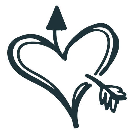 Heart and arrow stroke Transparent PNG