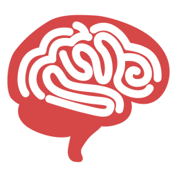 Human brain red silhouette