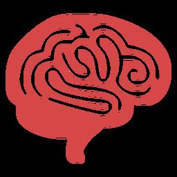 Silueta roja del cerebro humano