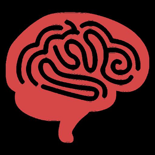 Human brain red silhouette