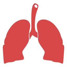 Human lungs red silhouette