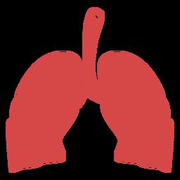 Pulmones humanos silueta roja