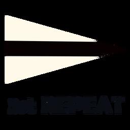 Bandeira de sinal marítima internacional 3 repetir plana