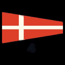 Bandera de señal marítima internacional 4 plana