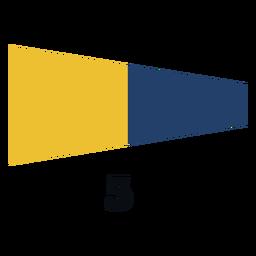 Bandeira de sinal marítima internacional 5 plana