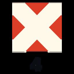 Bandera de señal marítima internacional nato 4 flat