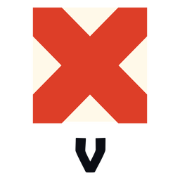 Bandeira de sinal marítimo internacional v plana