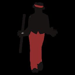 Silueta de palo masculino bailarina de jazz