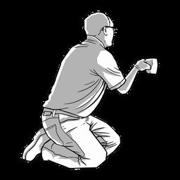 Ilustración de limpieza de hombre arrodillado