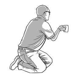 Kneeling man cleaning illustration