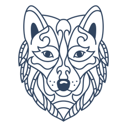 Mandala wolf animal stroke