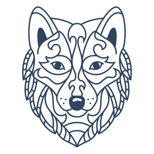 Mandala wolf animal stroke Transparent PNG