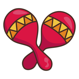 Curso de ícone colorido de maracas mexicanas