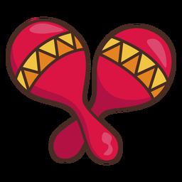 Trazo de icono colorido maracas mexicanas