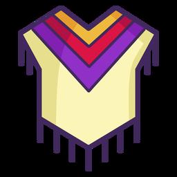 Poncho mexicano colorido trazo de icono