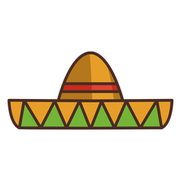 Mexican sombrero colorful icon stroke