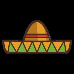 Sombrero mexicano com traço colorido de ícone