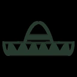 Trazo de icono de sombrero mexicano