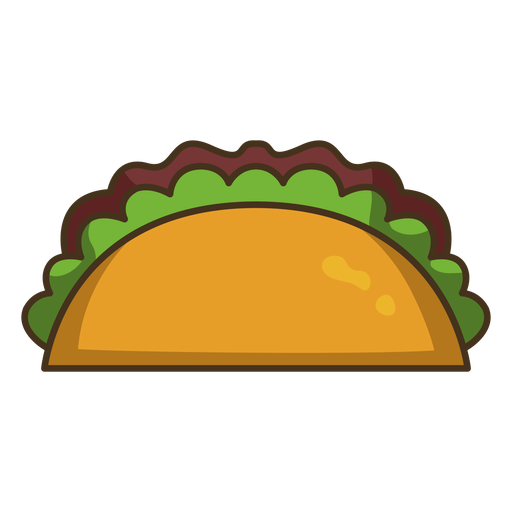 Mexican taco colorful icon stroke Transparent PNG