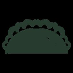 Ícone de silhueta de taco mexicano