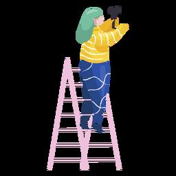 Weibliche Dekorationshammerillustration des neuen Jahres
