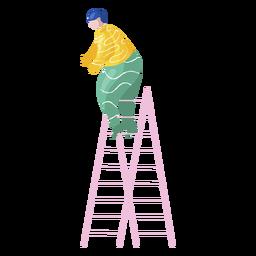 Ilustración de decorador de escalera femenina de año nuevo