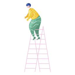 New year female ladder decorator illustration