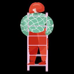 New year ladder female decorator illustration