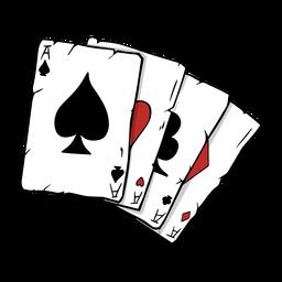 Cartas de póquer cuatro ases ilustración