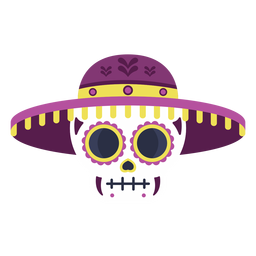 Skull calavera colorful flat