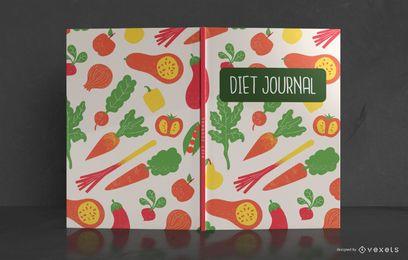 Diseño de portada de libro de patrón de diario de dieta