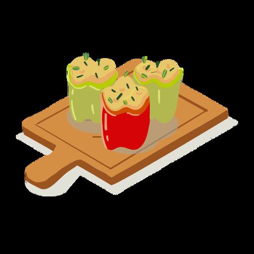 Stuffed peppers cutting board illustration
