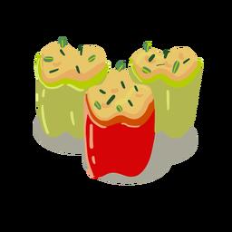 Stuffed peppers illustration