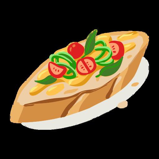 Tasty bruschetta isometric